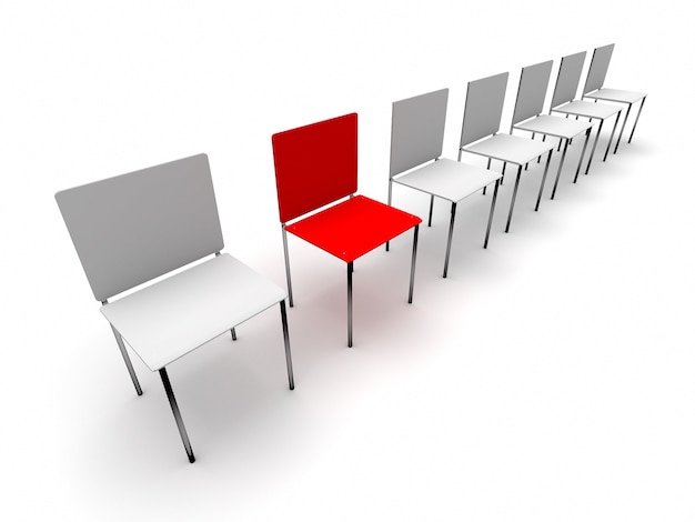 Concept rangée de chaises. une chaise rouge individuelle et unique près des blancs. rendu 3d