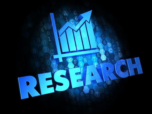 Concept de recherche - texte de couleur bleue avec l'icône de graphique de croissance sur fond numérique foncé.