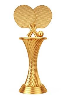 Concept de récompense de tennis. raquettes et balle de tennis de ping-pong de trophée d'or de récompense sur un fond blanc. rendu 3d.