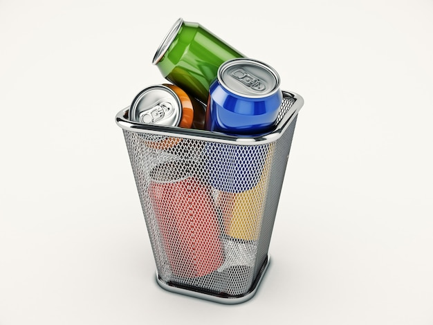 Concept de recyclage des canettes de boisson dans le rendu 3d de la poubelle