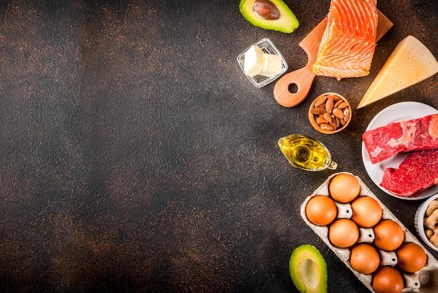 Concept de régime cétogène à faible teneur en glucides. alimentation saine et équilibrée avec une teneur élevée en graisses saines