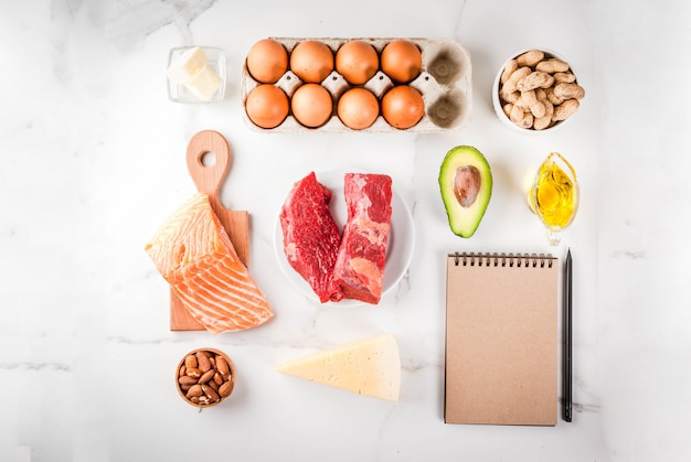 Concept de régime cétogène à faible teneur en glucides. aliments sains et équilibrés à haute teneur en graisses saines. régime pour le cœur et les vaisseaux sanguins