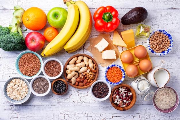 Concept de régime sain végétarien ovo-lacto.