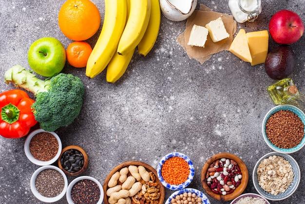 Concept de régime végétarien lacto. la nourriture saine