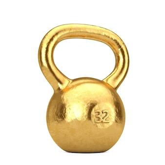 Concept de remise en forme. poids d'haltère d'or sur un fond blanc. rendu 3d