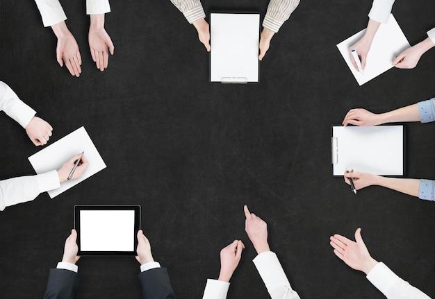 Concept de remue-méninges / vue aérienne de la planification des gens d'affaires