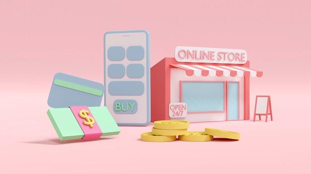 Concept de rendu 3d d'achats en ligne une boutique en ligne avec un smartphone pièces de monnaie factures d'argent carte de crédit sur fond de rendu 3d
