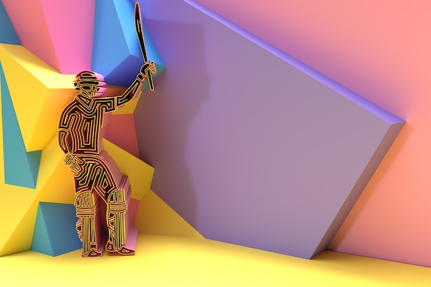 Concept de rendu 3d de batteur jouant au cricket - championnat, illustration d'affiche de conception d'art 3d.