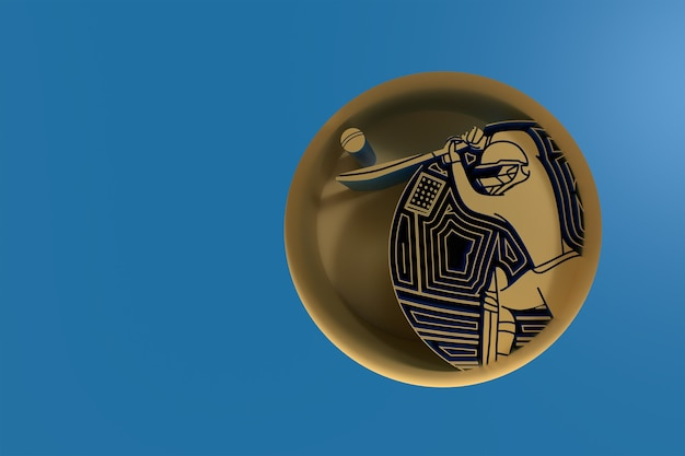 Concept de rendu 3d de batteur jouant au cricket - sur l'illustration de l'affiche de conception d'art 3d circle.
