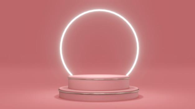 Concept de rendu 3d du podium avec un anneau brillant sur fond rose à thème commercial