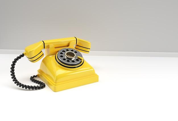 Concept de rendu 3d du vieux téléphone 3d art design illustration.