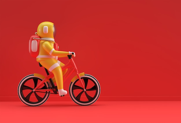 Concept de rendu 3d d'illustration de conception d'art 3d de bicyclette d'astronaute.