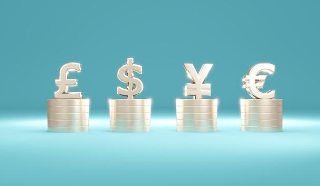 Concept de rendu 3d de la monnaie fiduciaire par des piles de pièces avec symbole monétaire dollar livre euro yuan sur
