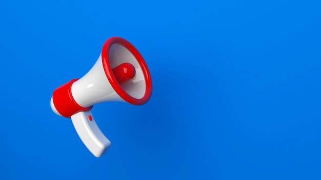 Concept de rendu d'annonce d'un mégaphone sur fond bleu