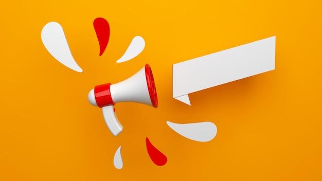 Concept de rendu d'annonce d'un mégaphone sur fond jaune