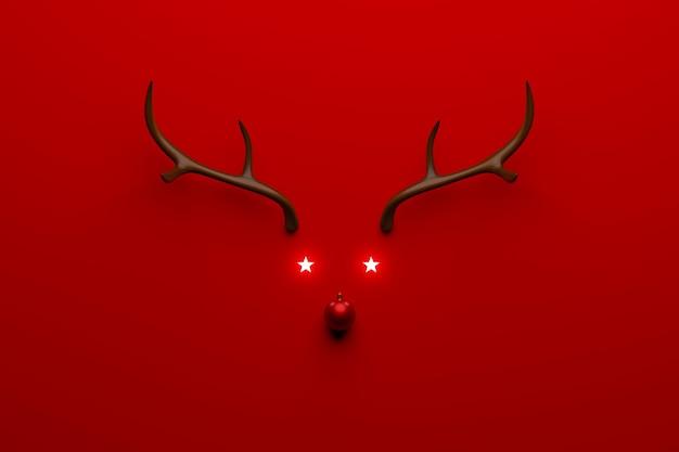 Concept de renne de noël fait de décoration de boule en bois et rouge
