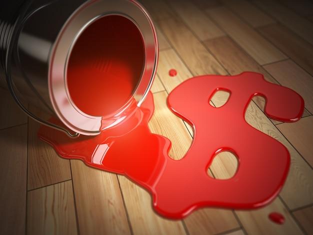 Concept de rénovation ou de construction de maison. peut avec de la peinture rouge renversée et un signe dollar. frais de rénovation. illustration 3d