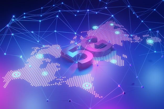 Concept de réseau 5g, internet haut débit, technologie sans fil de réseau, rendu 3d