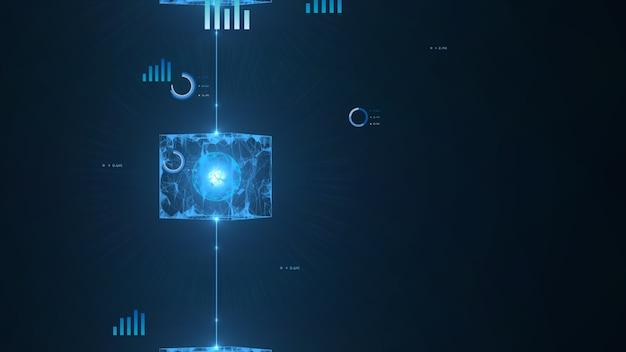 Concept de réseau de blockchain. blocs numériques isométriques