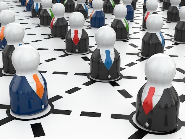 Concept de réseau d'entreprise. la communication. image en trois dimensions.