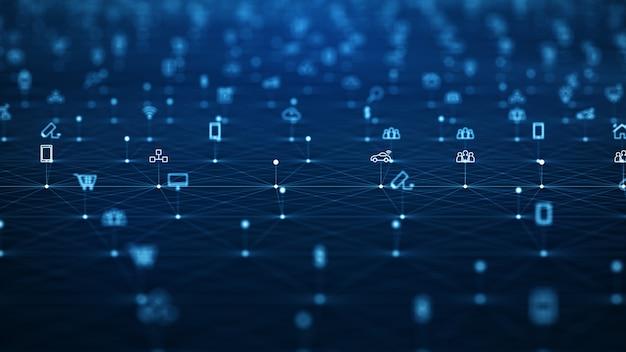 Concept de réseau global. iot (internet des objets).