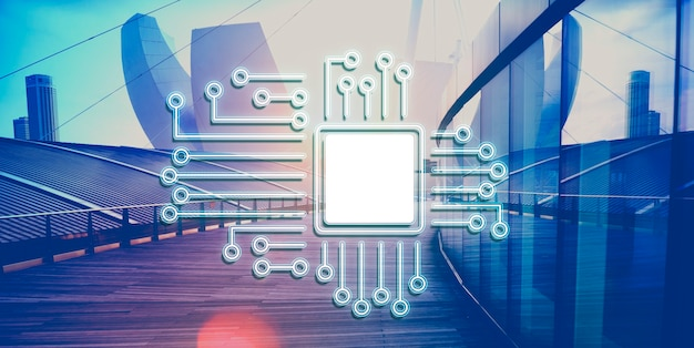Concept de réseau d'innovation de processeur de circuit technologique