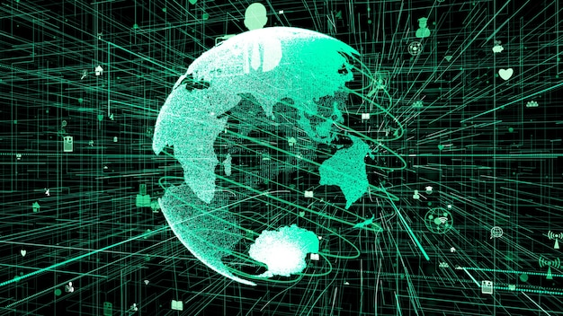 Concept de réseau internet en ligne mondial