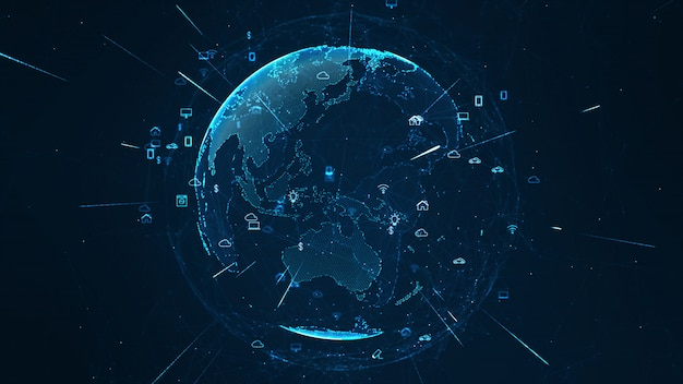 Concept de réseau mondial. iot (internet des objets).