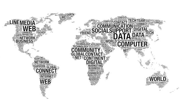 Concept de réseau social fait avec des mots dessinant comme carte du monde sur un fond blanc