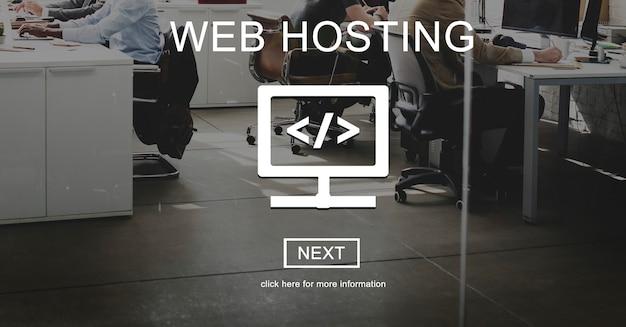 Concept de réseautage de connexion de développement d'hébergement web