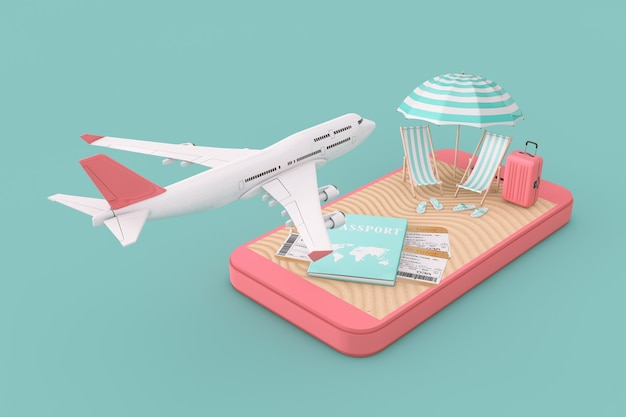 Concept de réservation de billets en ligne. avion du passager de jet blanc survolant un téléphone portable avec passeport, billets et plage tropicale de sable sur fond vert. rendu 3d