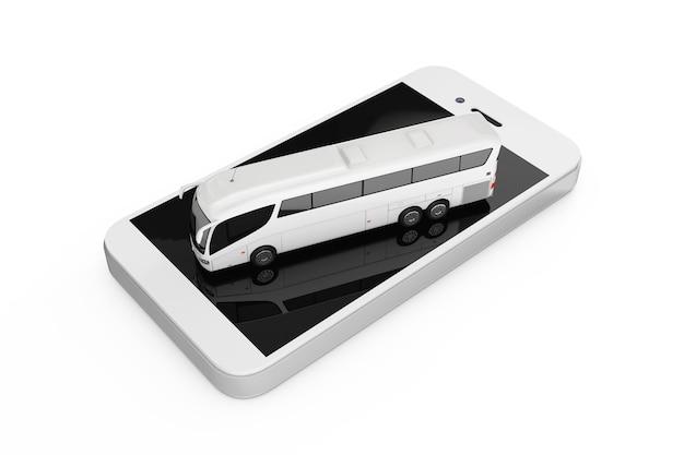 Concept de réservation en ligne. big white coach tour bus sur téléphone mobile sur un fond blanc. rendu 3d