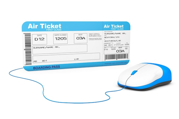 Concept de réservation en ligne. billet de carte d'embarquement de la compagnie aérienne et souris d'ordinateur sur fond blanc
