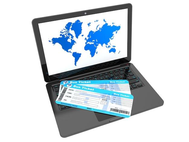 Concept de réservation en ligne. ordinateur portable avec billets de bus sur fond blanc