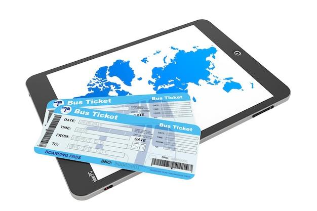 Concept de réservation en ligne. tablet pc avec billets de bus sur fond blanc