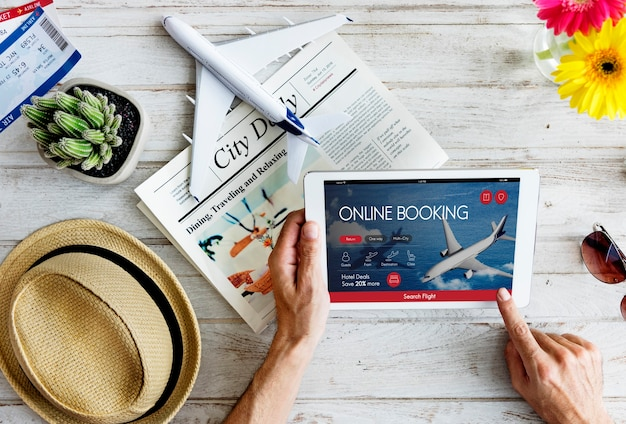 Concept de réservation de vol de billet d'avion
