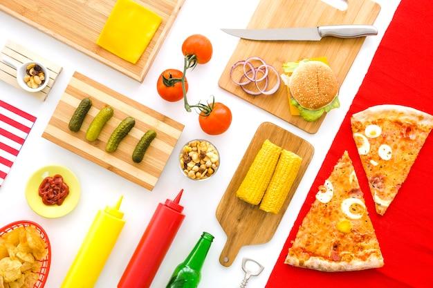 Concept de restauration rapide américaine avec pizza