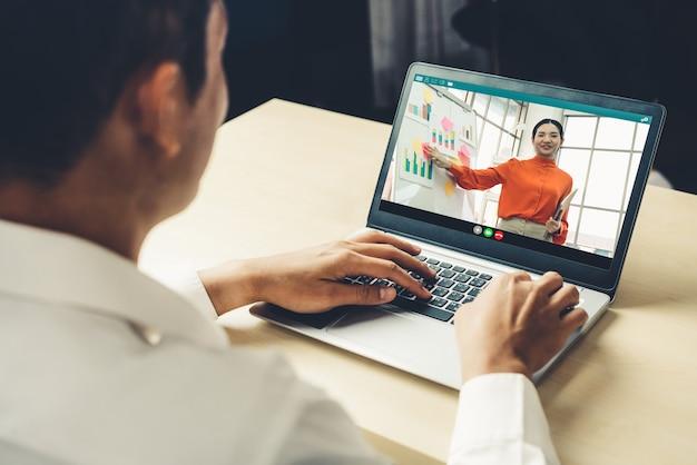 Concept de réunion de présentation en ligne et d'apprentissage en ligne.