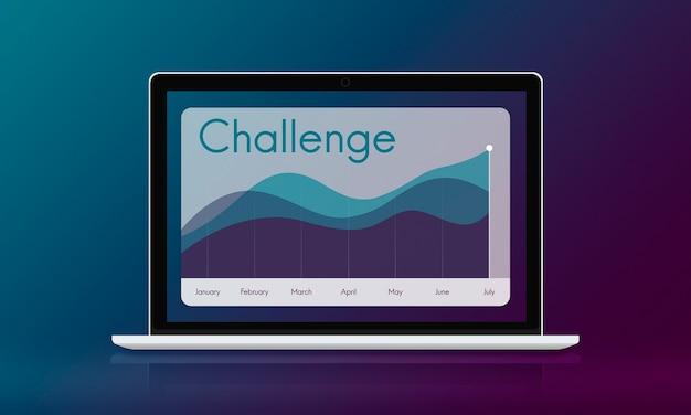 Concept de réussite de croissance graphique d'entreprise défi