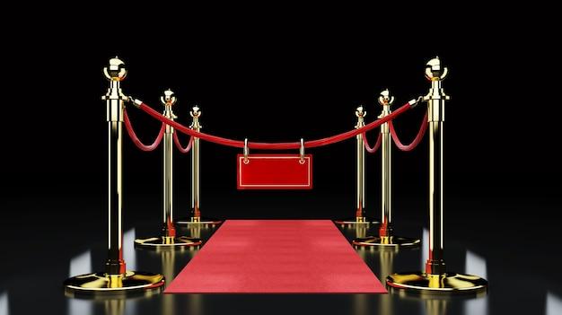 Concept de réussite et de triomphe du tapis rouge, des escaliers et de la corde d'or
