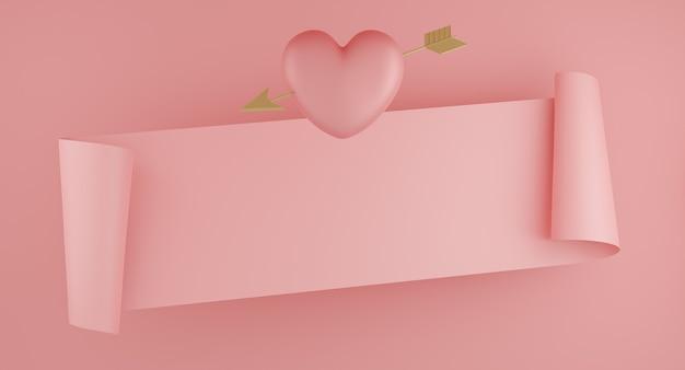 Concept de la saint-valentin, ballons coeurs roses avec flèche or et bannière sur fond rose. rendu 3d.