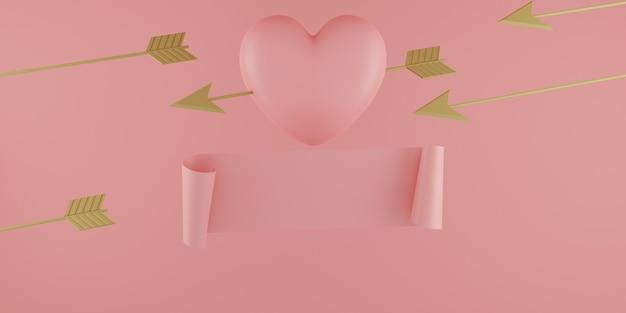 Concept de la saint-valentin, ballons coeurs roses avec flèche en or