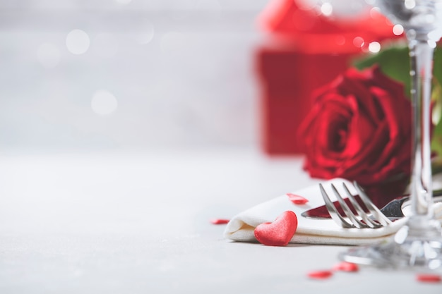 Concept de saint valentin ou dîner romantique