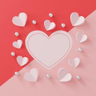 Concept de la saint-valentin heureuse. coeur de papier et boule d'argent sur fond rose
