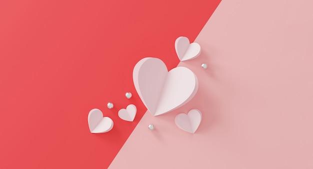 Concept de la saint-valentin heureuse. coeur en papier et boule argentée sur rose.