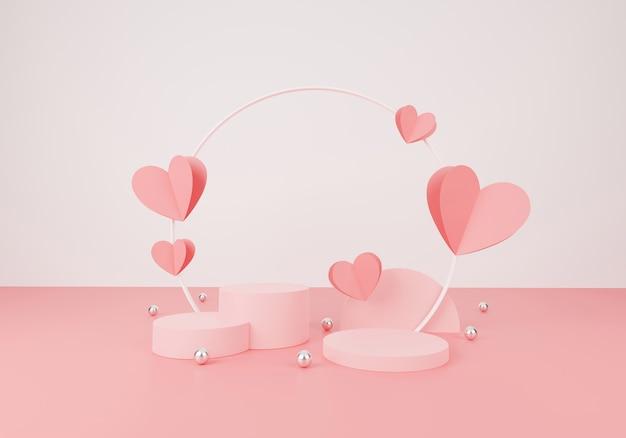 Concept de la saint-valentin heureuse. scène minimale avec des formes géométriques. affichage de podium de cylindre