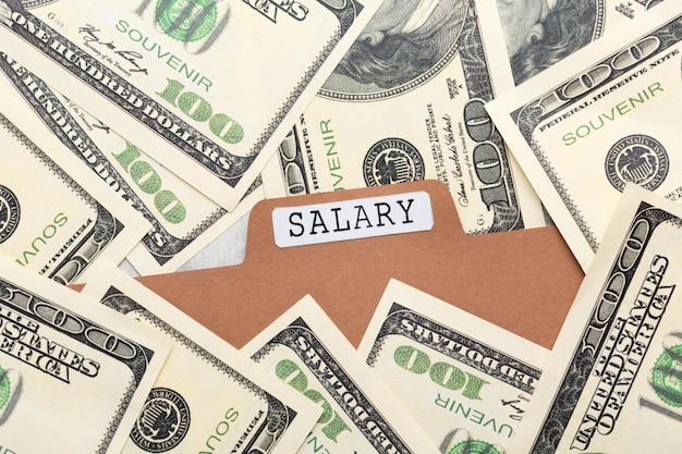 Concept de salaire vue de dessus avec billets de banque