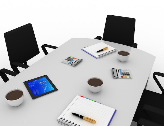 Concept de salle de réunion de bureau. illustration de rendu 3d