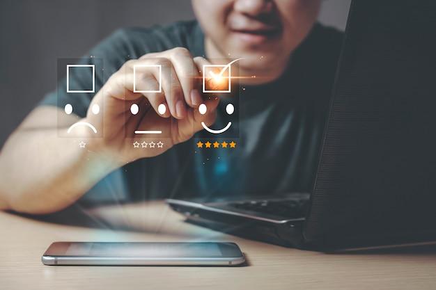 Concept de satisfaction le meilleur excellent concept d'expérience client d'évaluation des services commerciaux