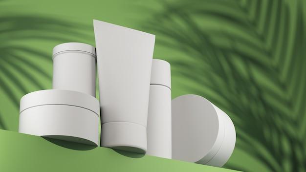 Concept scène une vitrine de scène avec des cosmétiques sur fond vert bouteilles blanches du produit